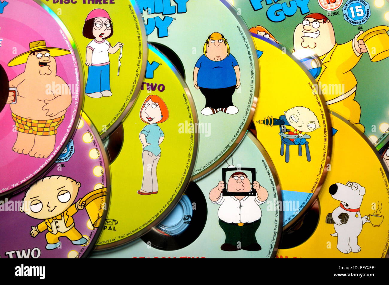Family Guy DVDs, showing characters - Stock Image