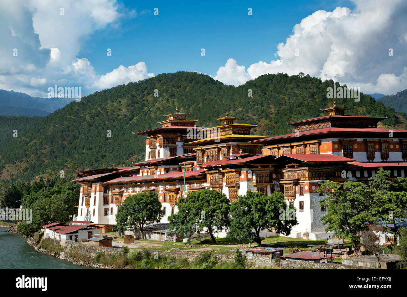 BHUTAN - Punakha Dzong (government offices and monastery), was the capital and seat of government until the mid - Stock Image