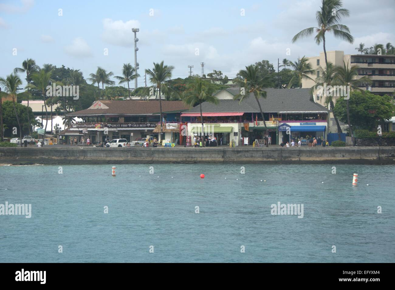 Hilo town from the water - Stock Image