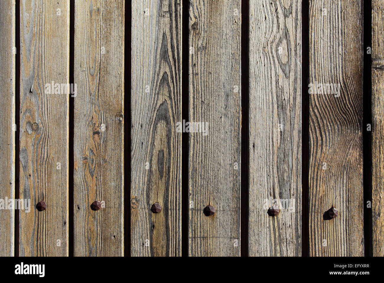 Texture of old wood planks close-up - Stock Image