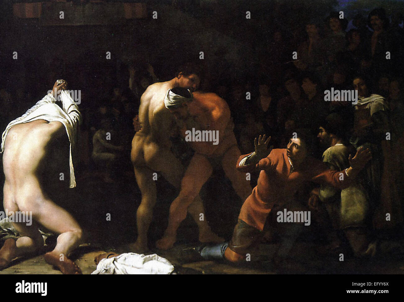 Michael Sweerts  A Wrestling Match - Stock Image