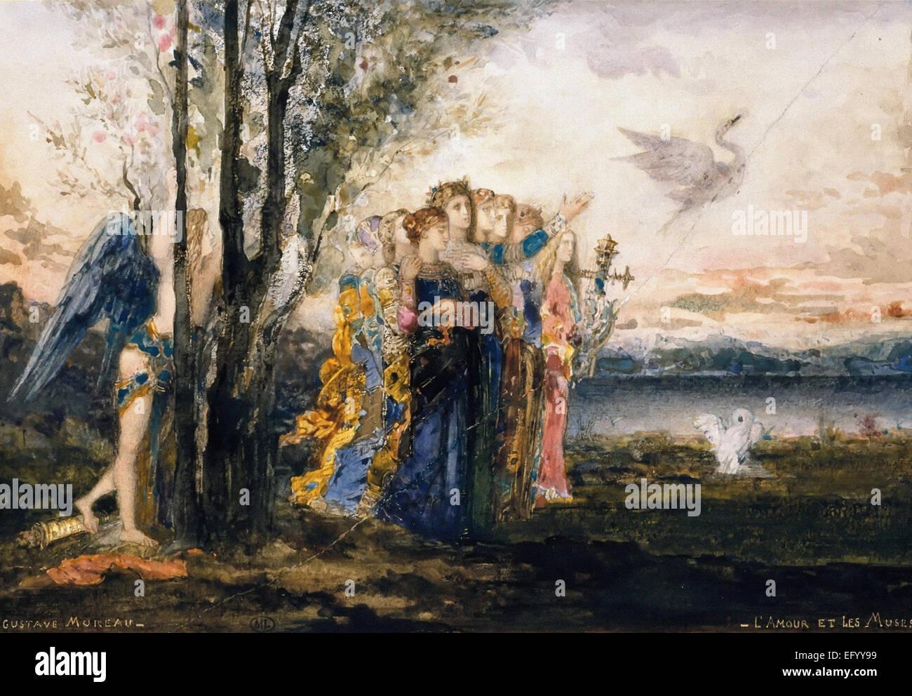 Gustave Moreau  L'Amour et les Muses - Stock Image