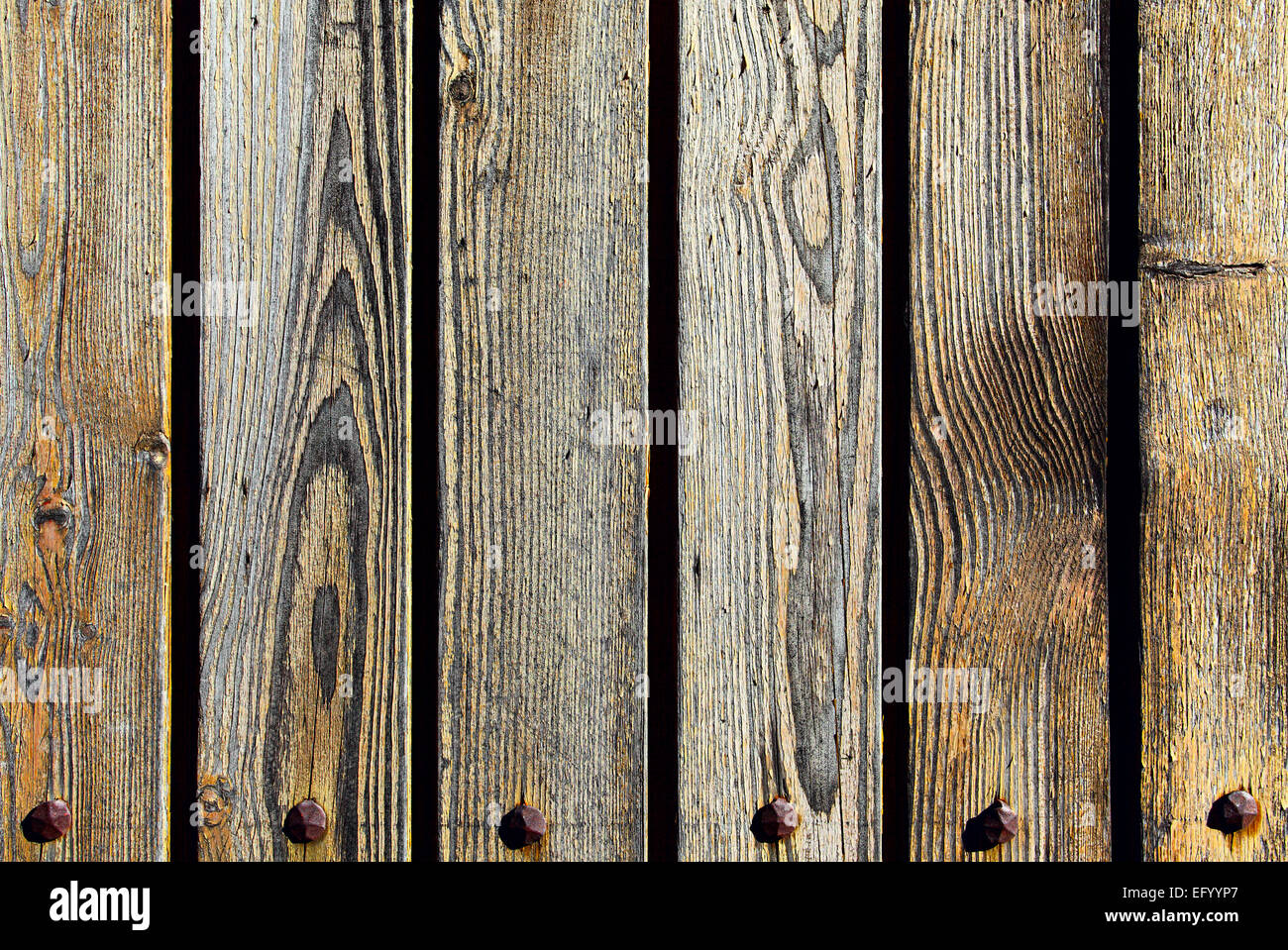 Texture of old wooden planks close-up - Stock Image