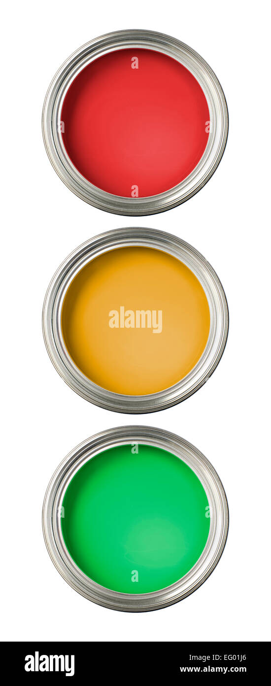 concept image of paint tins implying odd one out or stop / go - Stock Image