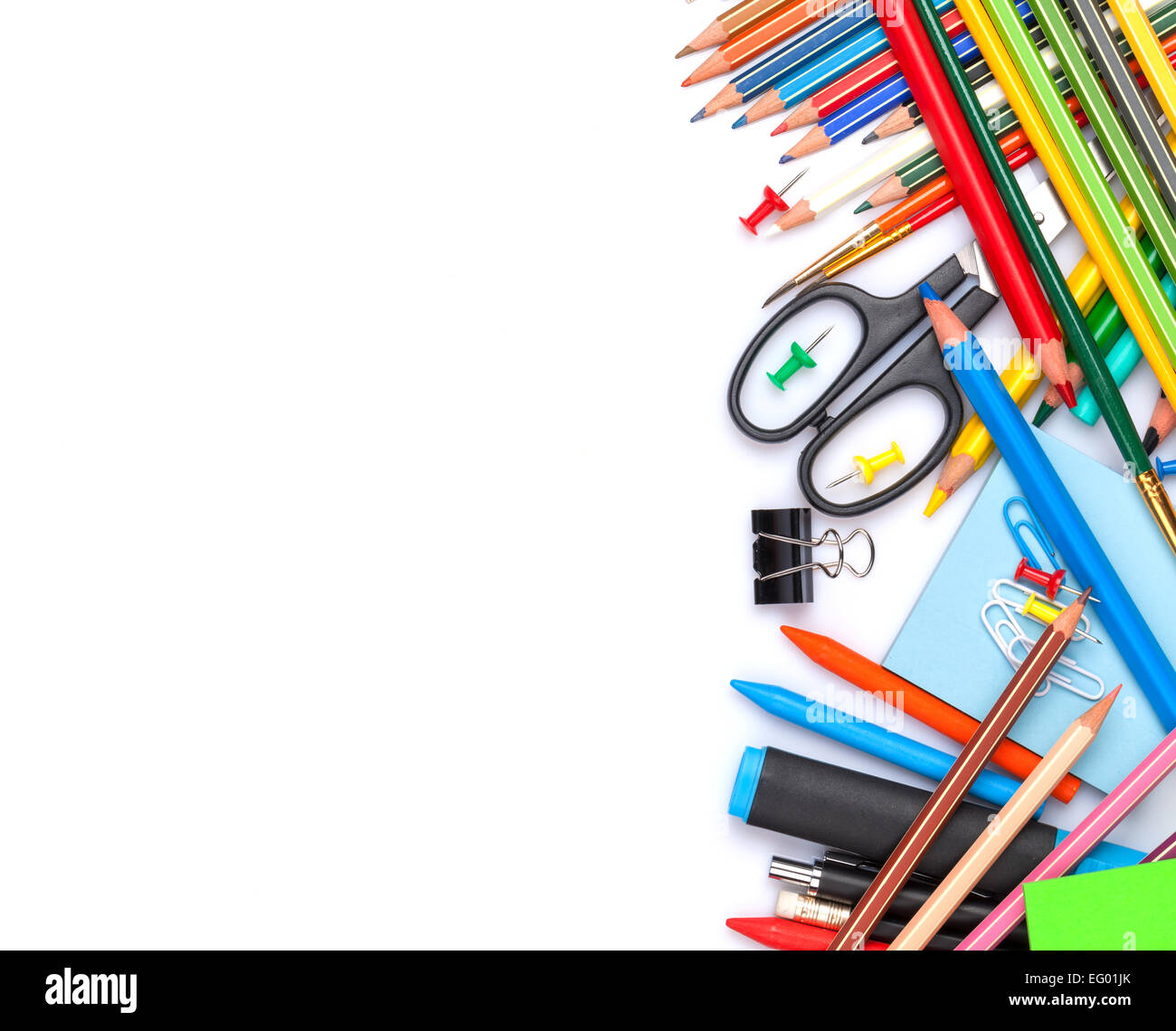 school and office supplies  top view  isolated on white