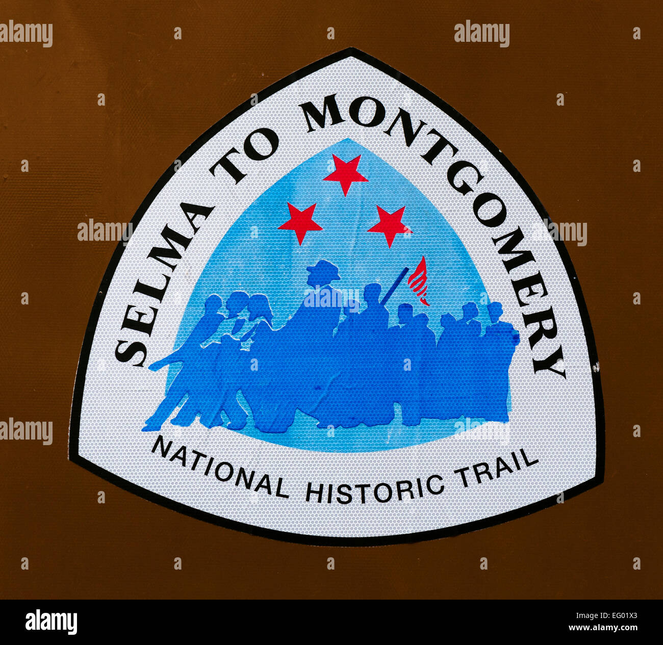 Road sign for historic trail of Selma to Montgomery Voting Rights march, Selma, Alabama, USA - Stock Image