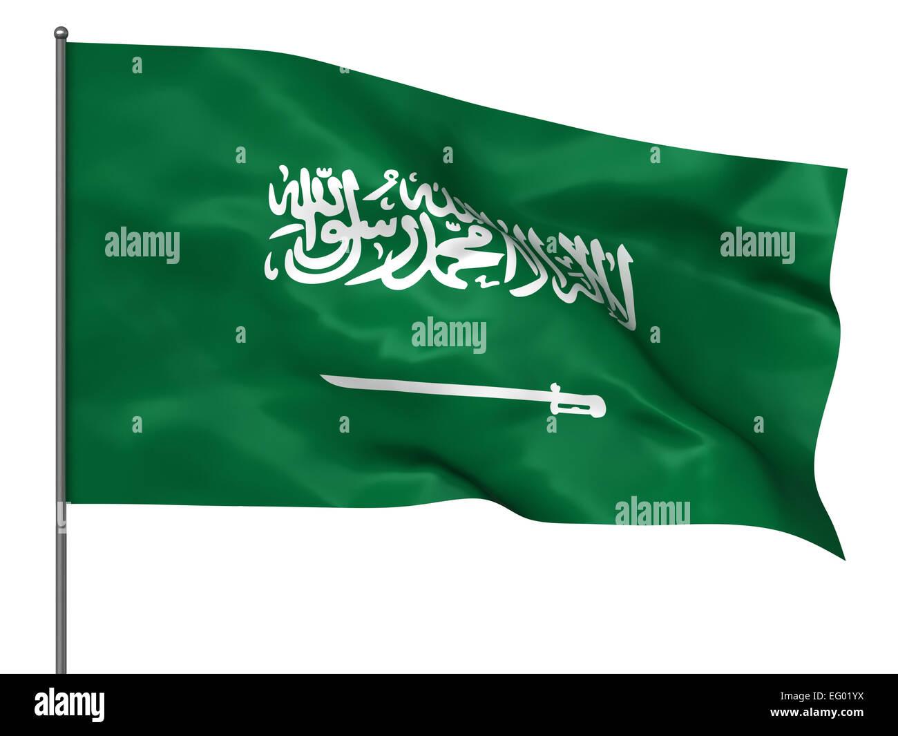 Waving Saudi Arabia Flag Isolated Over White Background