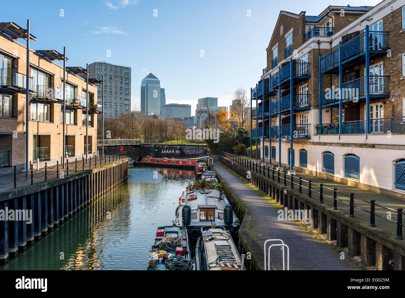 The Limehouse Basin in East London is a Docklands marina and residential housing development in the Borough of Tower - Stock Image