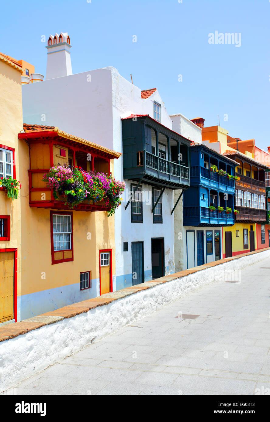 colorful houses with balconies in santa cruz de la palma canary islands