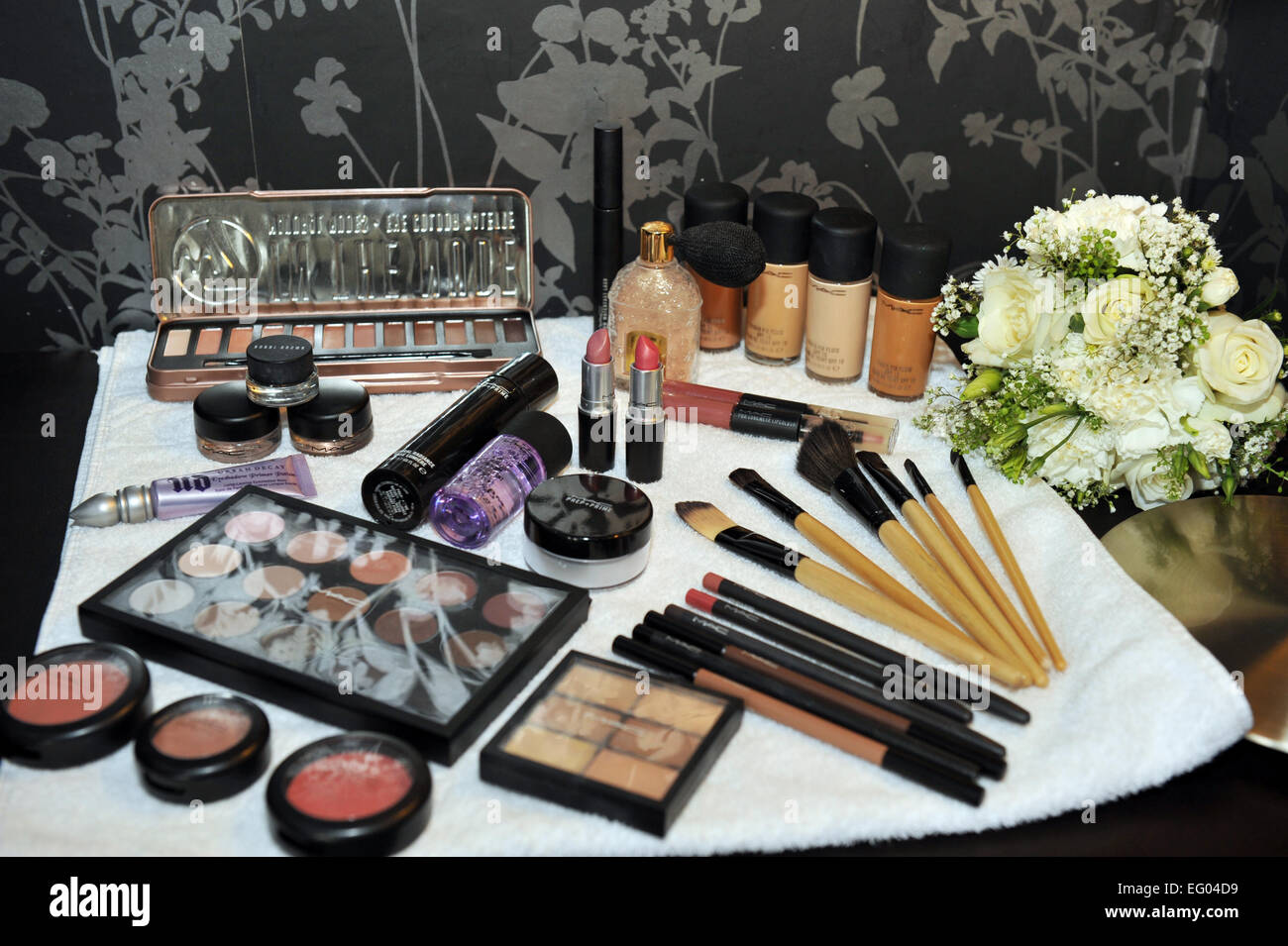 Makeup laid out ready for bridal preparations. - Stock Image