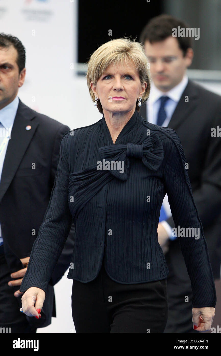 Italy, Milan:10/17/2014. Foreign Minister of Australia Julia Bishop, arrives the exhibition center - Stock Image
