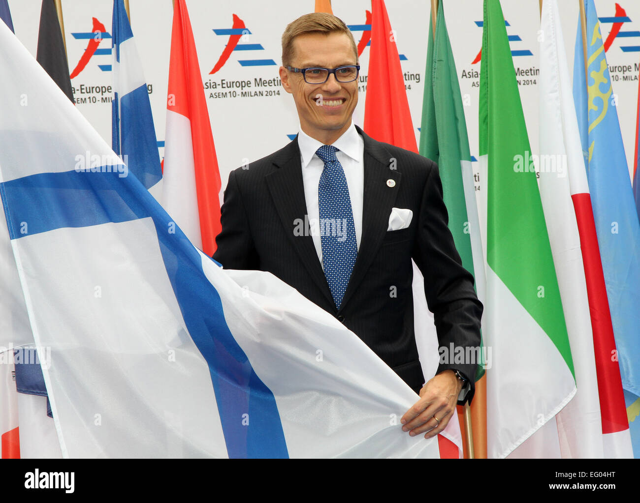 Italy, Milan:10/17/2014. Prime Minister of Finland, Alexander Stubb arrives the exhibition center, - Stock Image