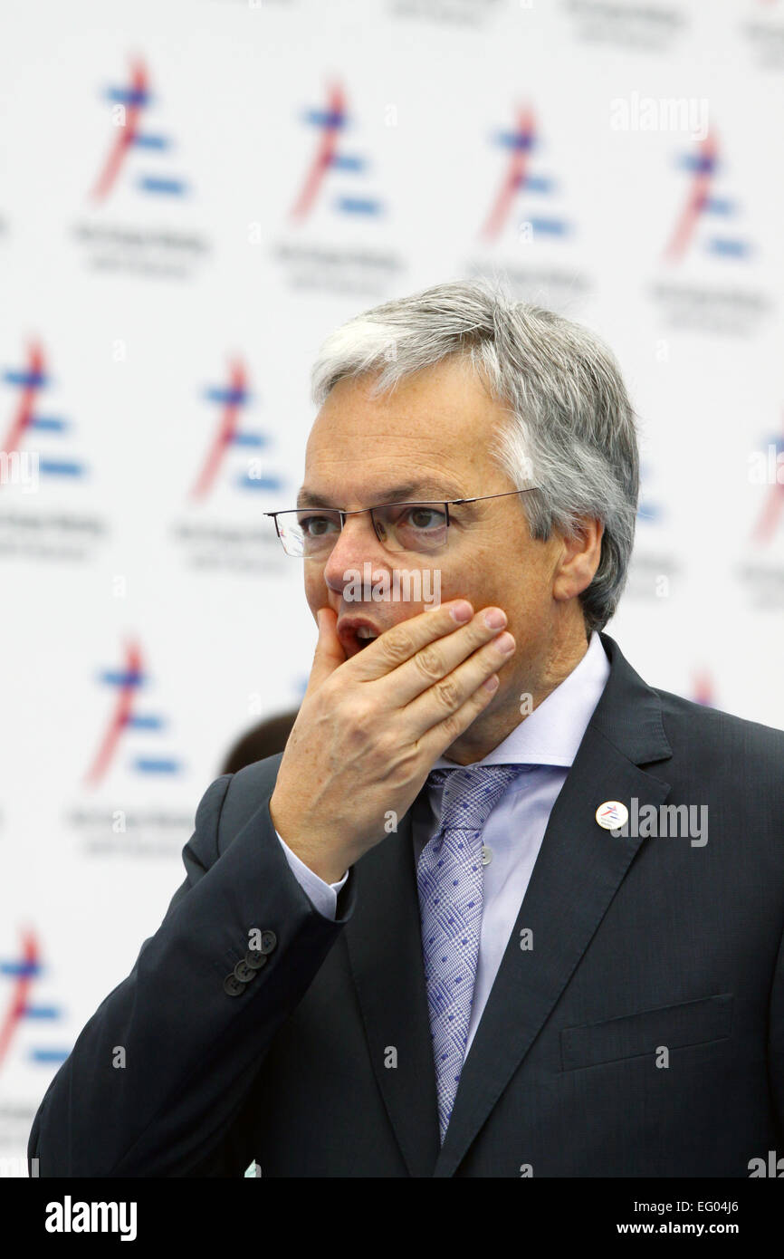 Italy, Milan:10/17/2014. Belgian Foreign Minister Didier Reynders prior to the start of a session at the ASEM Summit. - Stock Image