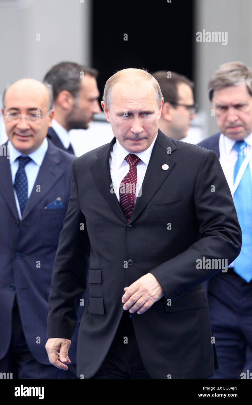 Italy, Milan:10/17/2014.President Vladimir Putin before the start of a session at the ASEM Summit. - Stock Image