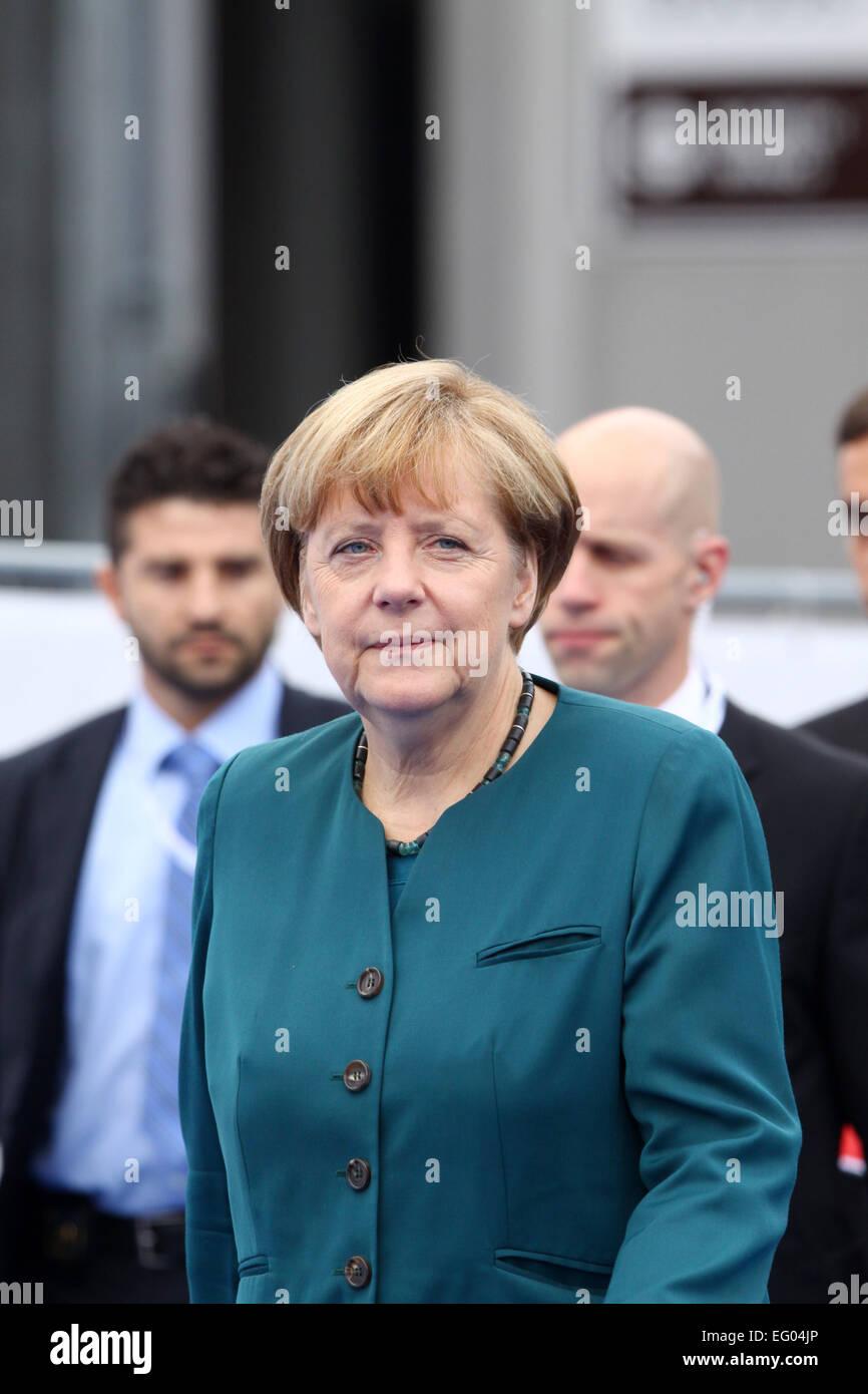 Italy, Milan:10/17/2014.German Chancellor Angela Merkel prior to the start of a session at the ASEM Summit. - Stock Image