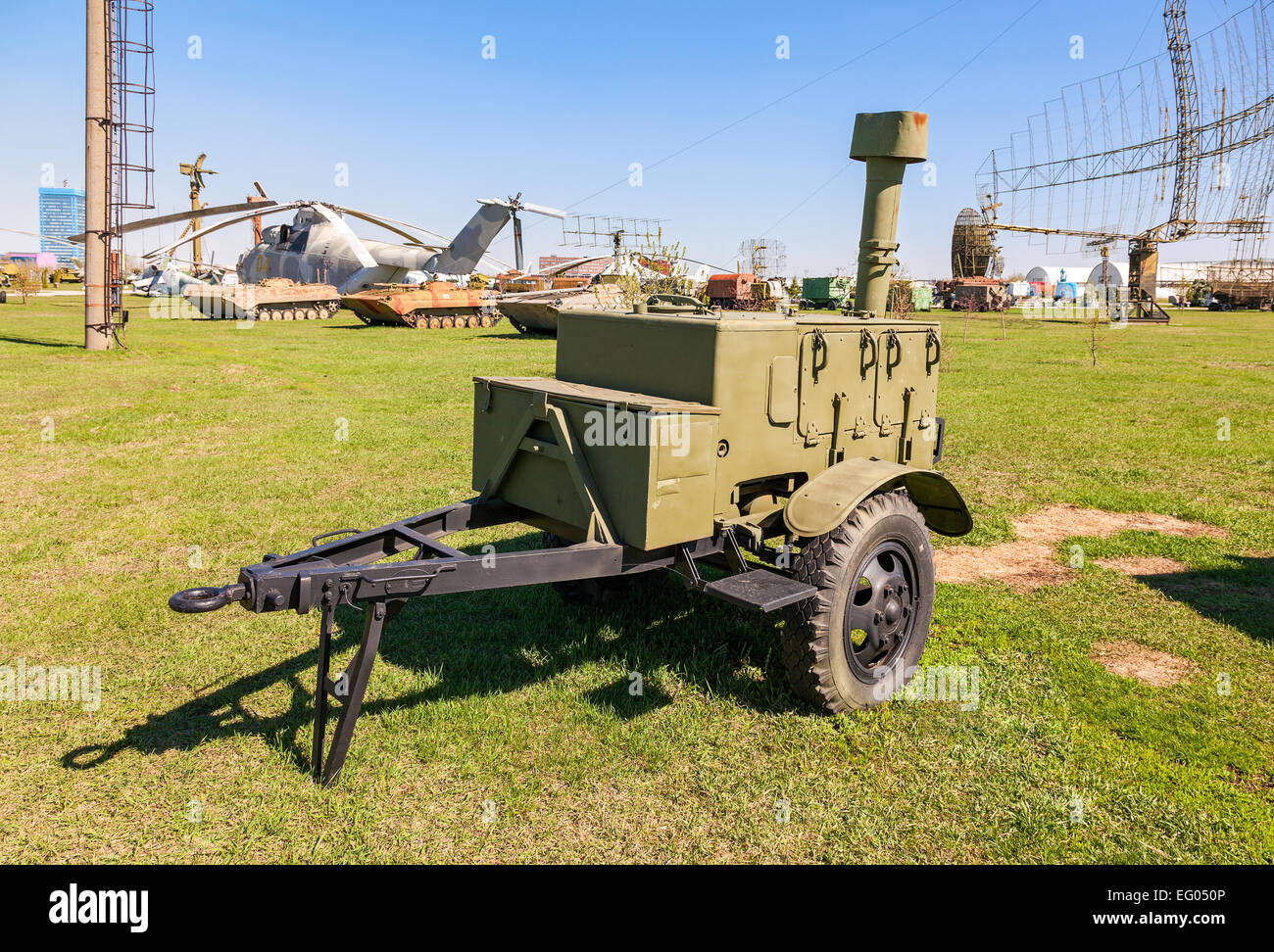 Mobile metal kitchen stove to feed soldiers at the technical museum in Togliatti, Russia - Stock Image