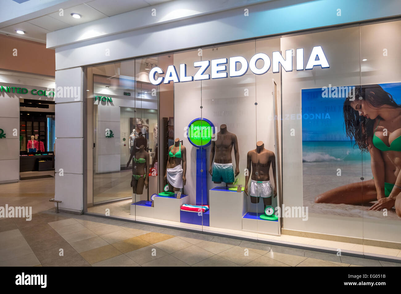 Showcase of Calzedonia Store in family shopping centre Park House - Stock Image