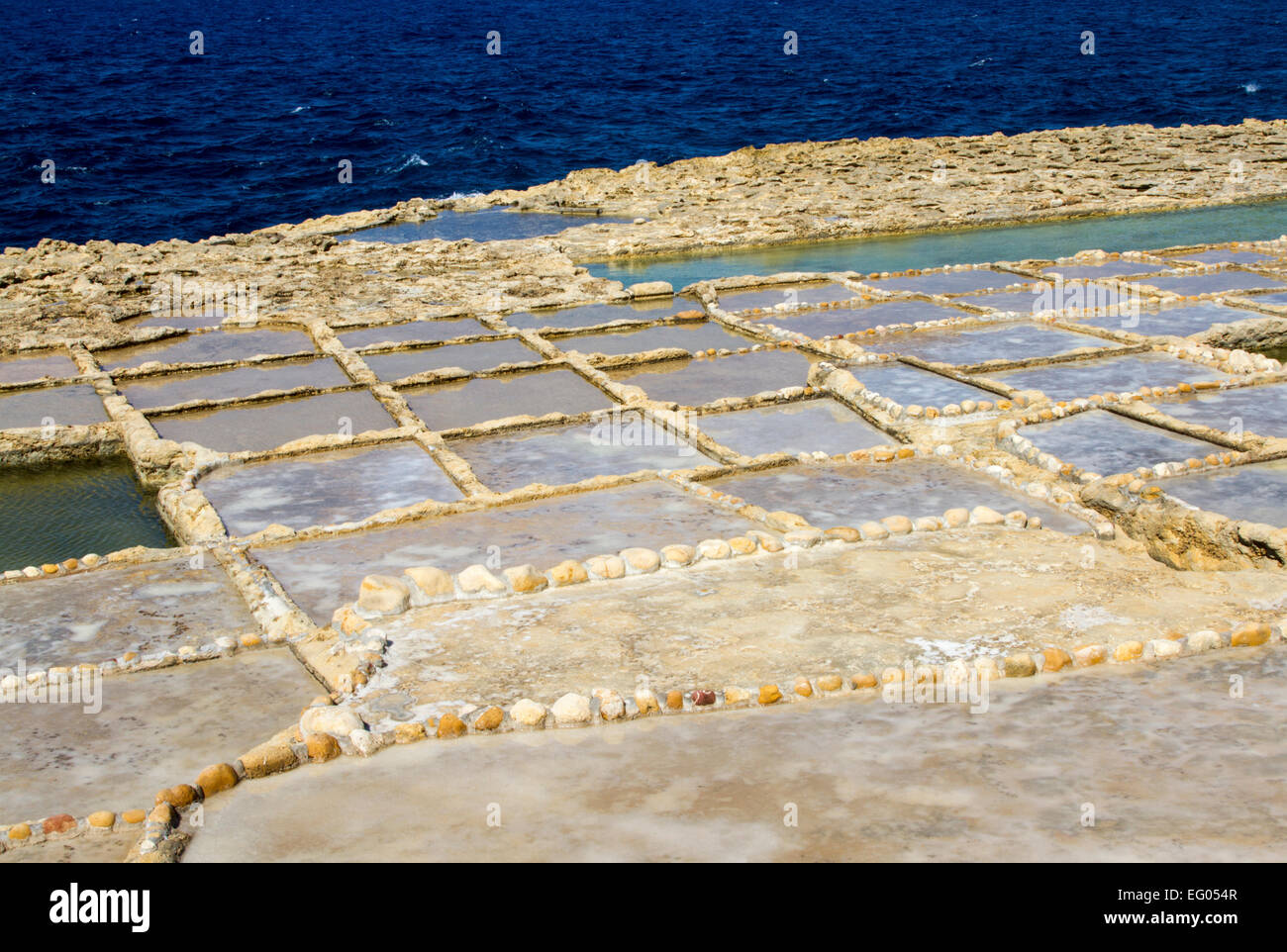 Salt pans in Xwenji, Gozo Malta - Stock Image