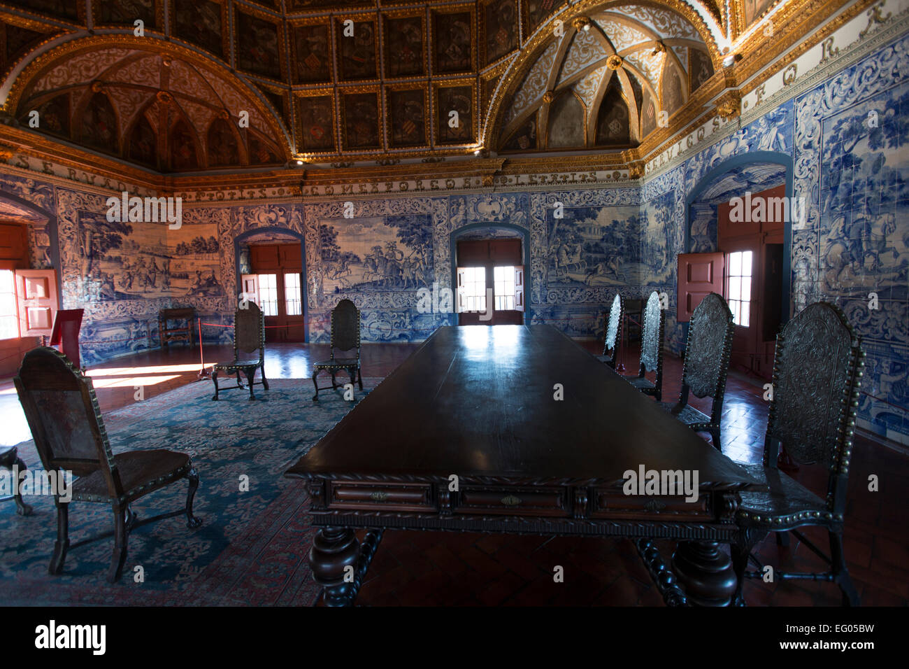 Sala dos Brasoes, Coat-of Arms Room Sintra National Palace - Stock Image