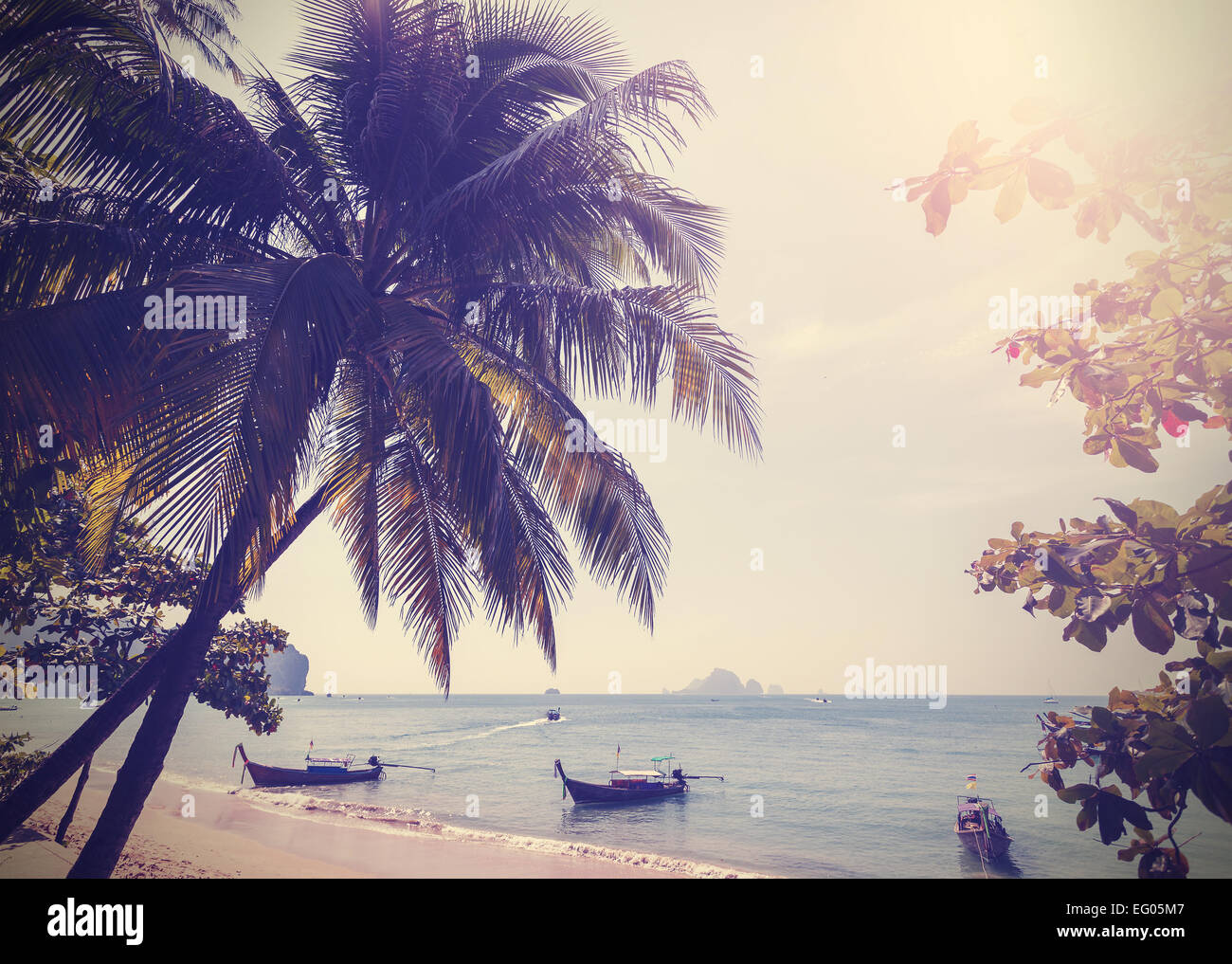 Vintage stylized photo of Andaman sea coast, Aonang in Thailand. - Stock Image