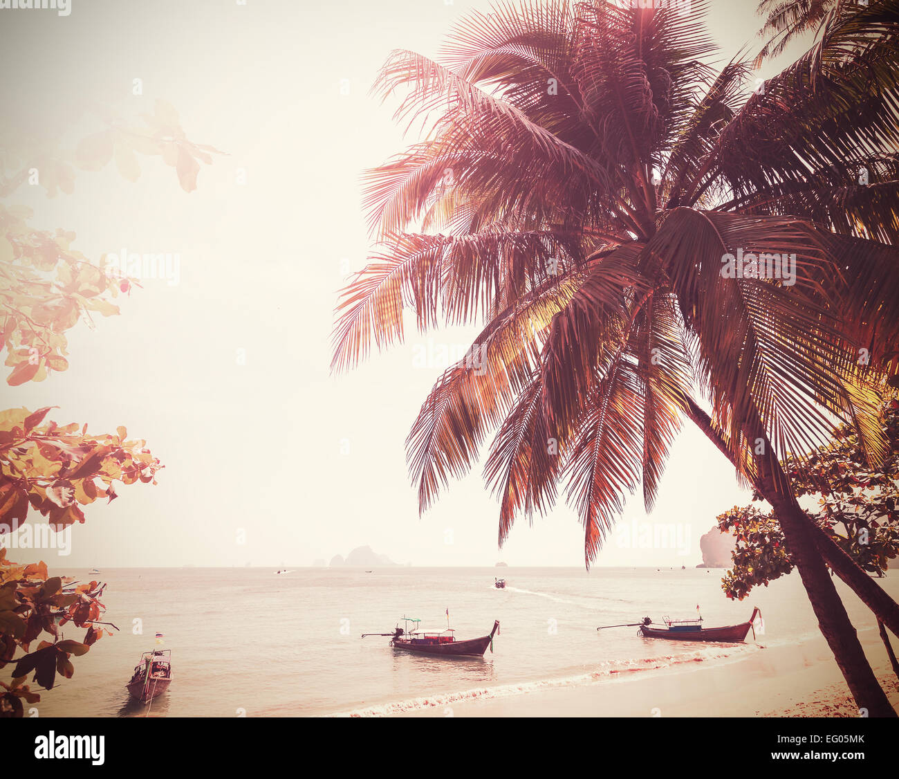 Vintage stylized photo of a beach, nature background. - Stock Image