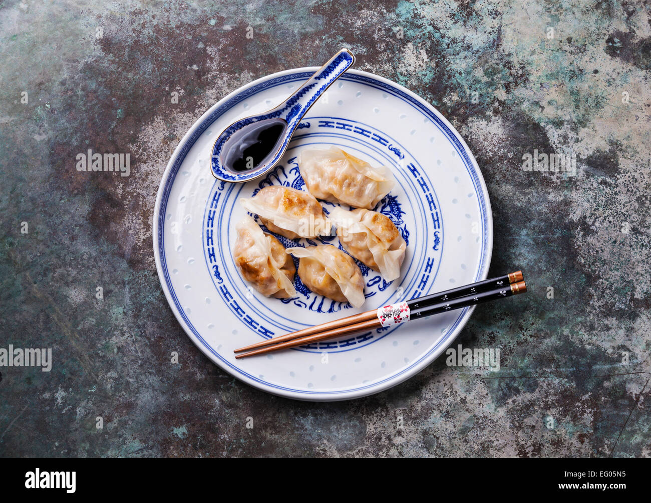 Special Kimchi Fried Dumplings and sauce - Stock Image