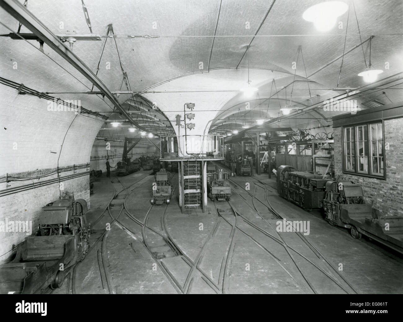 Post Office Railway - car depot and workshop. It ran for 22 hours a day from 1927 - 2003 and at its peak it employed - Stock Image