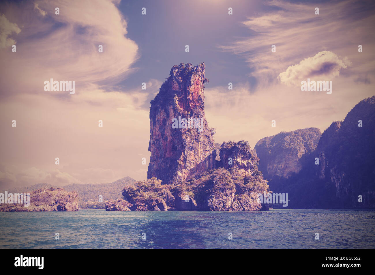 Rocky island, nature background retro filtered. - Stock Image