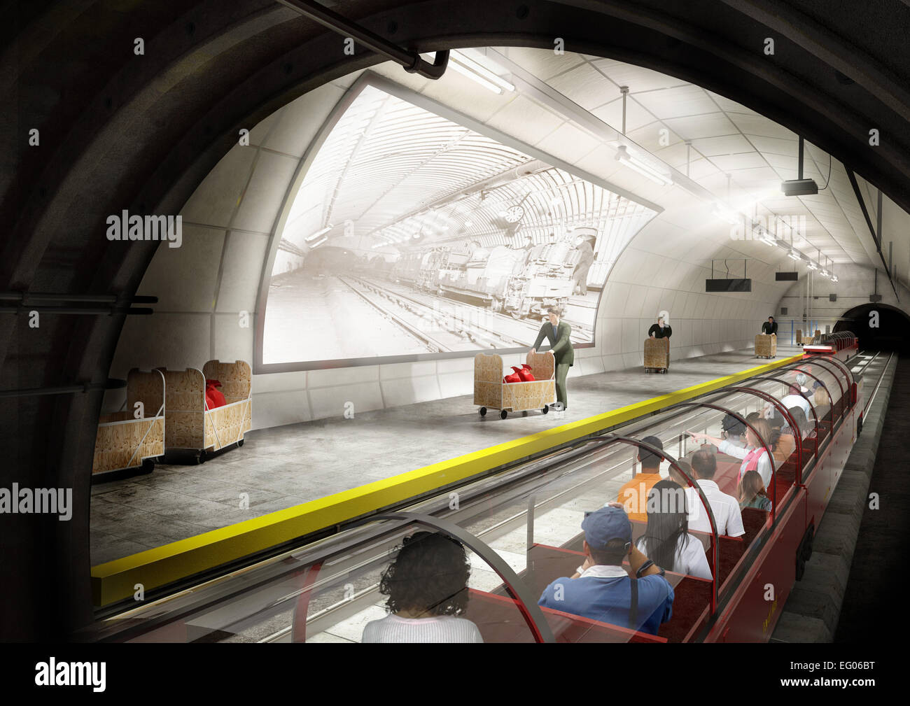 Mail Rail Concept Design 3 . CGI mock up of the proposed re vamp. It ran for 22 hours a day from 1927 - 2003 and - Stock Image