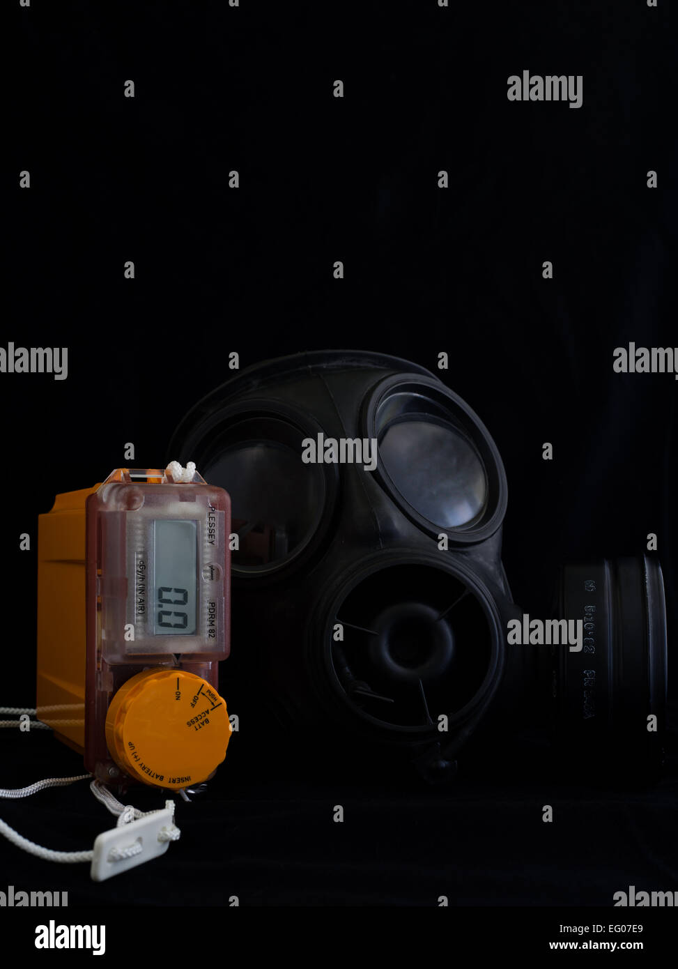 respirator gas mask and radiation monitor - Stock Image