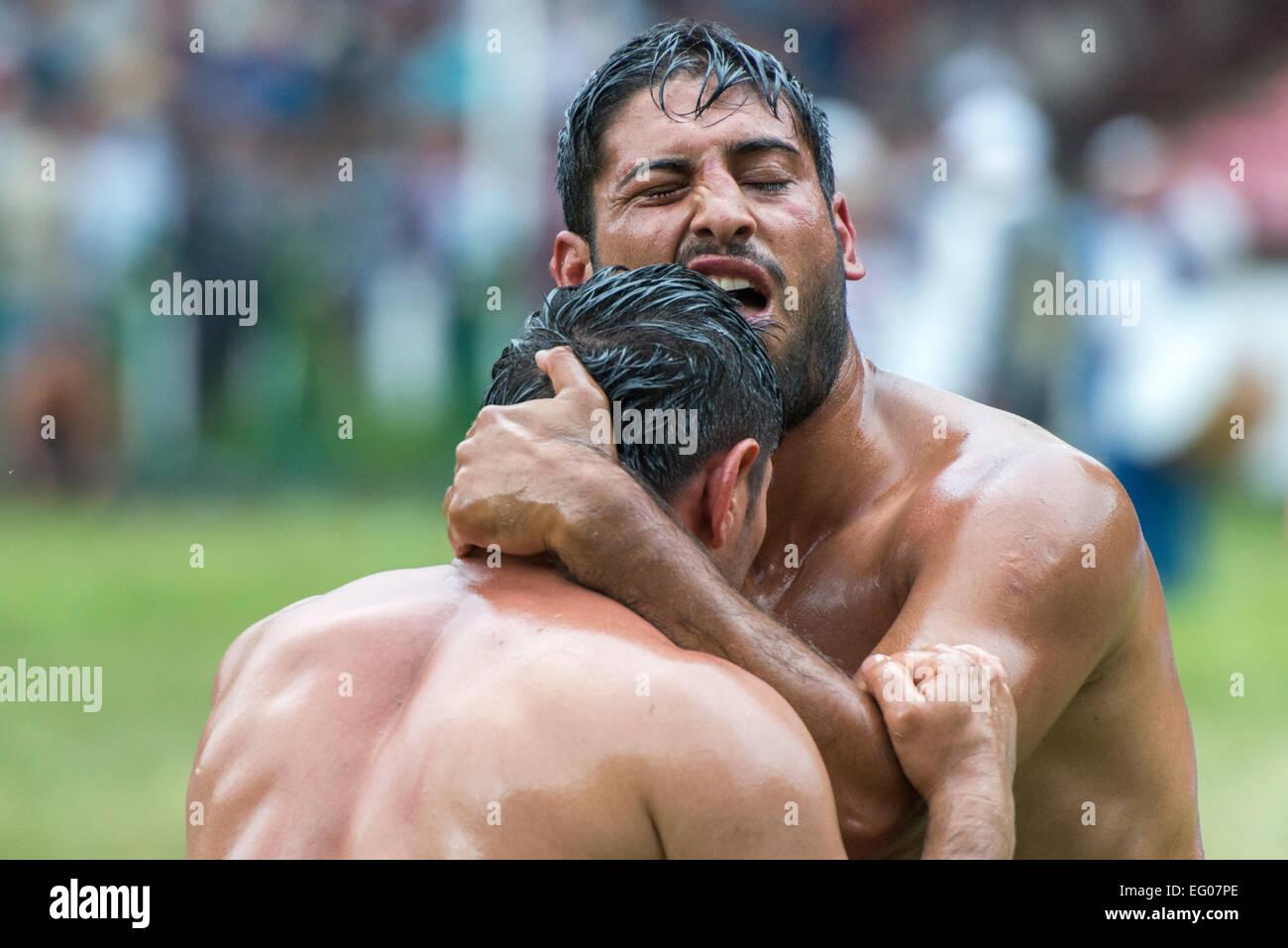 Wrestlers Fighting, Kirkpinar - Stock Image