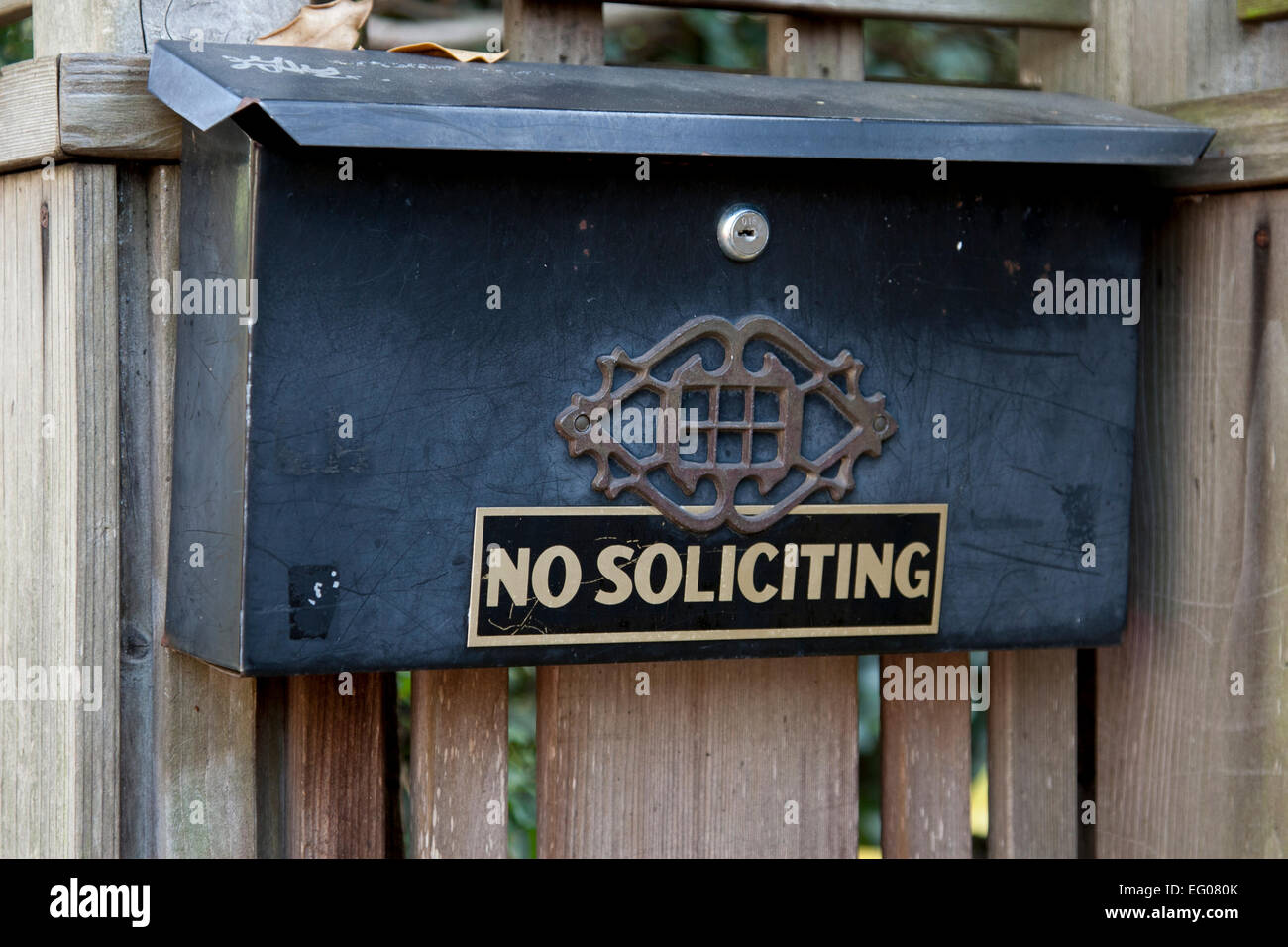 Picture of: No Soliciting Sign On A Residential Mailbox In Berkeley Stock Photo Alamy