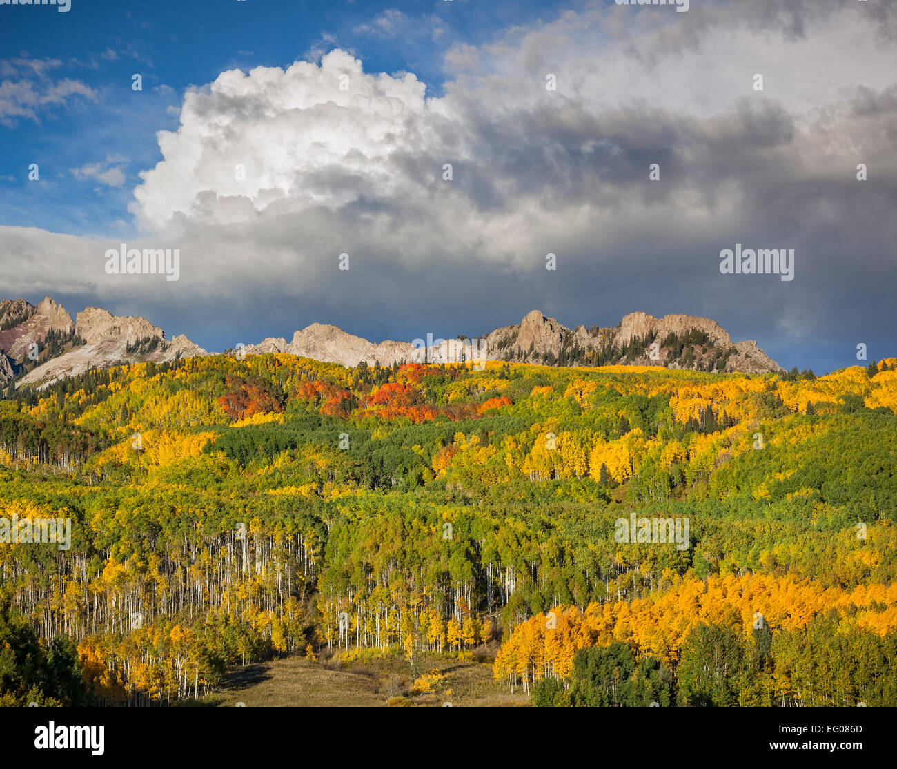 Gunnison National Forest, CO: Clouds over the Ruby Range in early fall Stock Photo