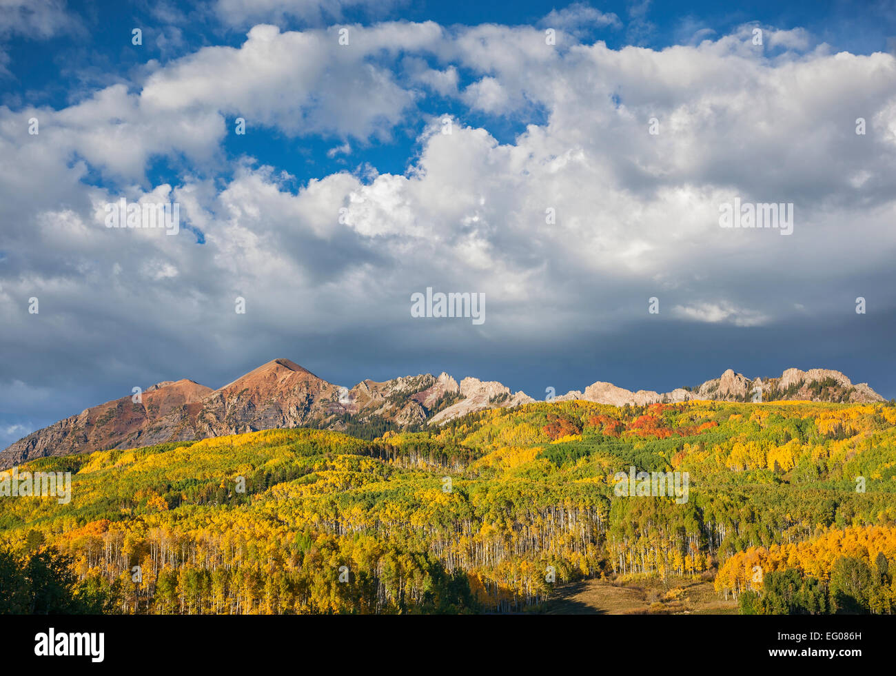 Gunnison National Forest, CO: Clouds over the Ruby Range in early fall - Stock Image