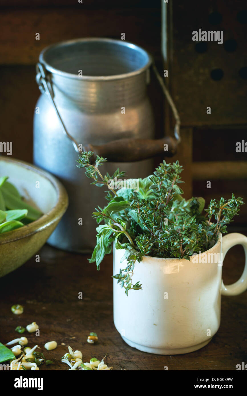 Young sweet peas and mix of herbs rosemary and basil with vintage kitchen utensil over wooden table - Stock Image