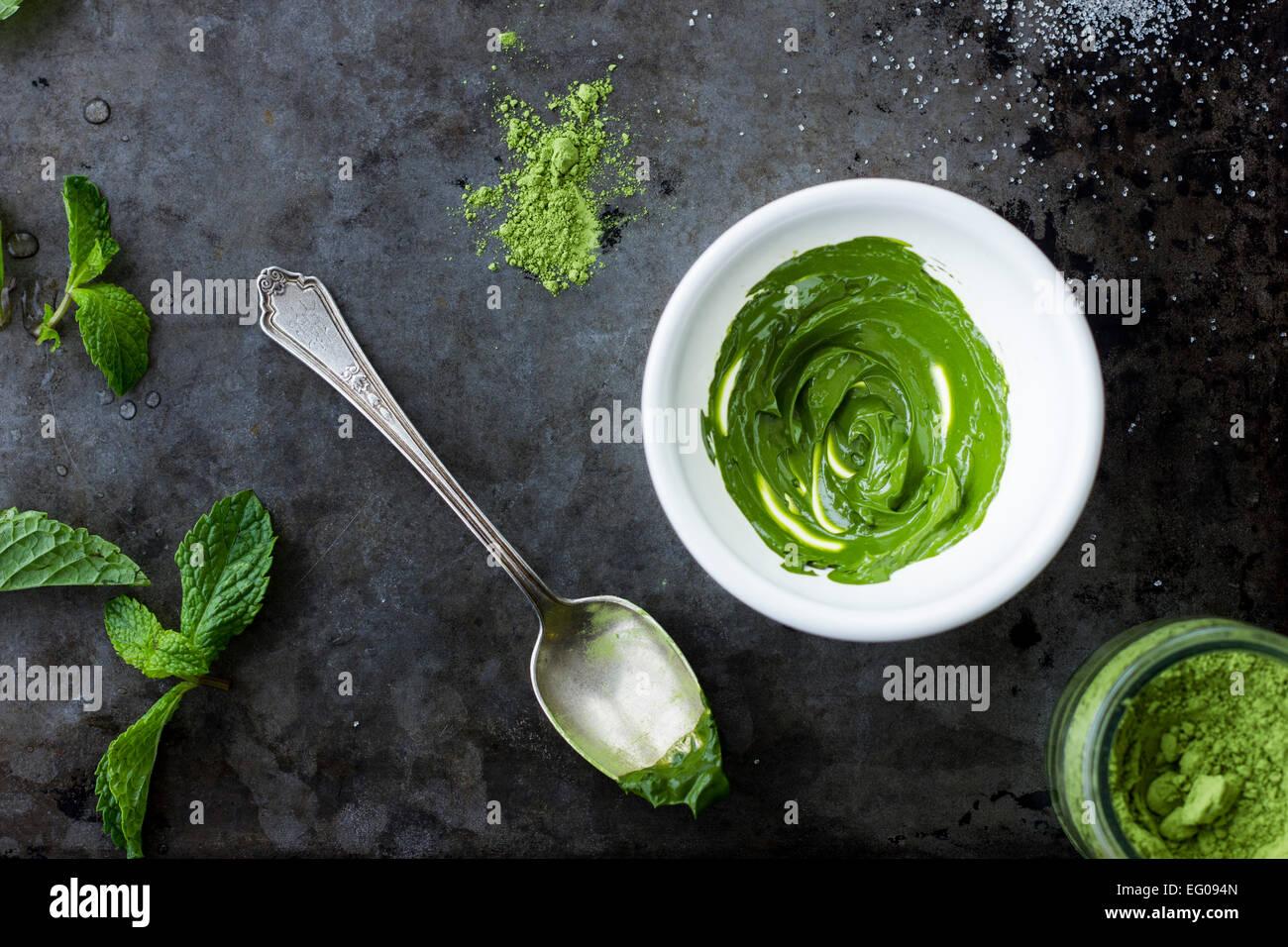 Matcha grren tea powder as a paste - Stock Image