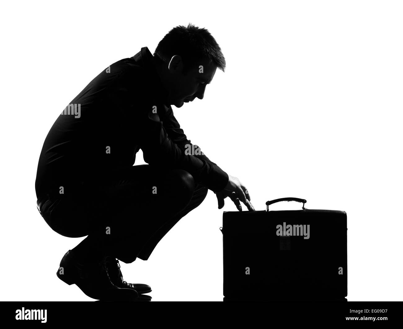 ce8353d04918 silhouette caucasian business man expressing fatigue despair tired behavior  briefcase full length on studio isolated -