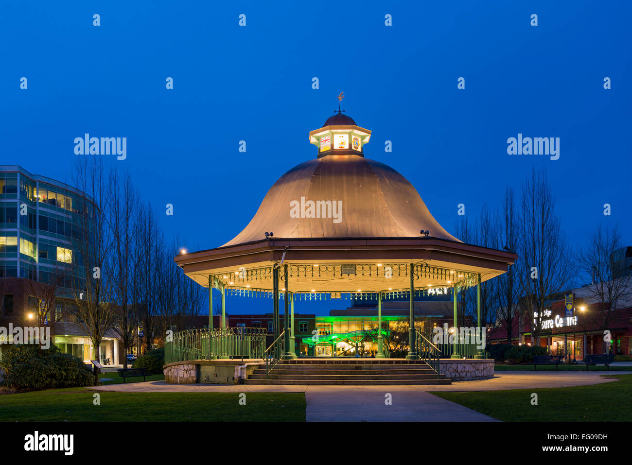 Bandstand at Memorial Peace Park, District of Maple Ridge, British Columbia, Canada - Stock Image