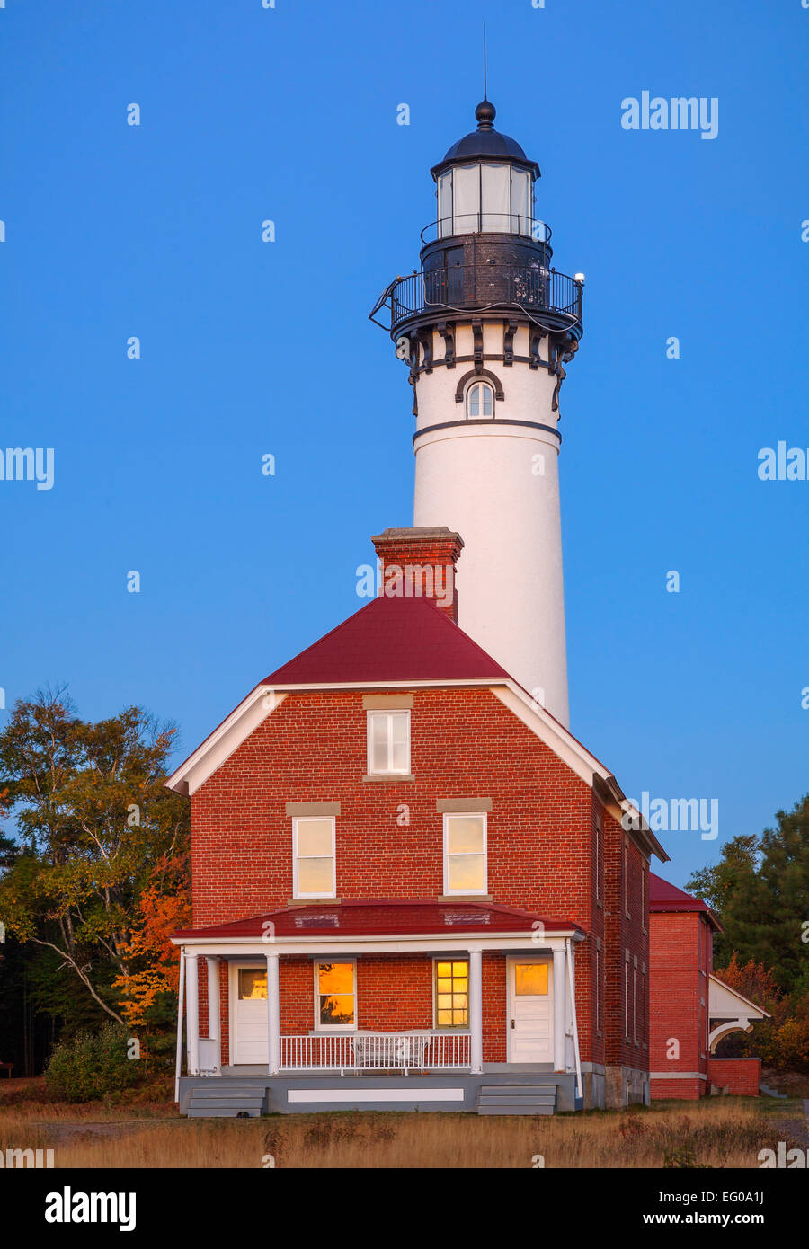 Pictured Rocks National Lakeshore, MI: Au Sable Light Station (1874) on Au Sable Point at dawn Stock Photo