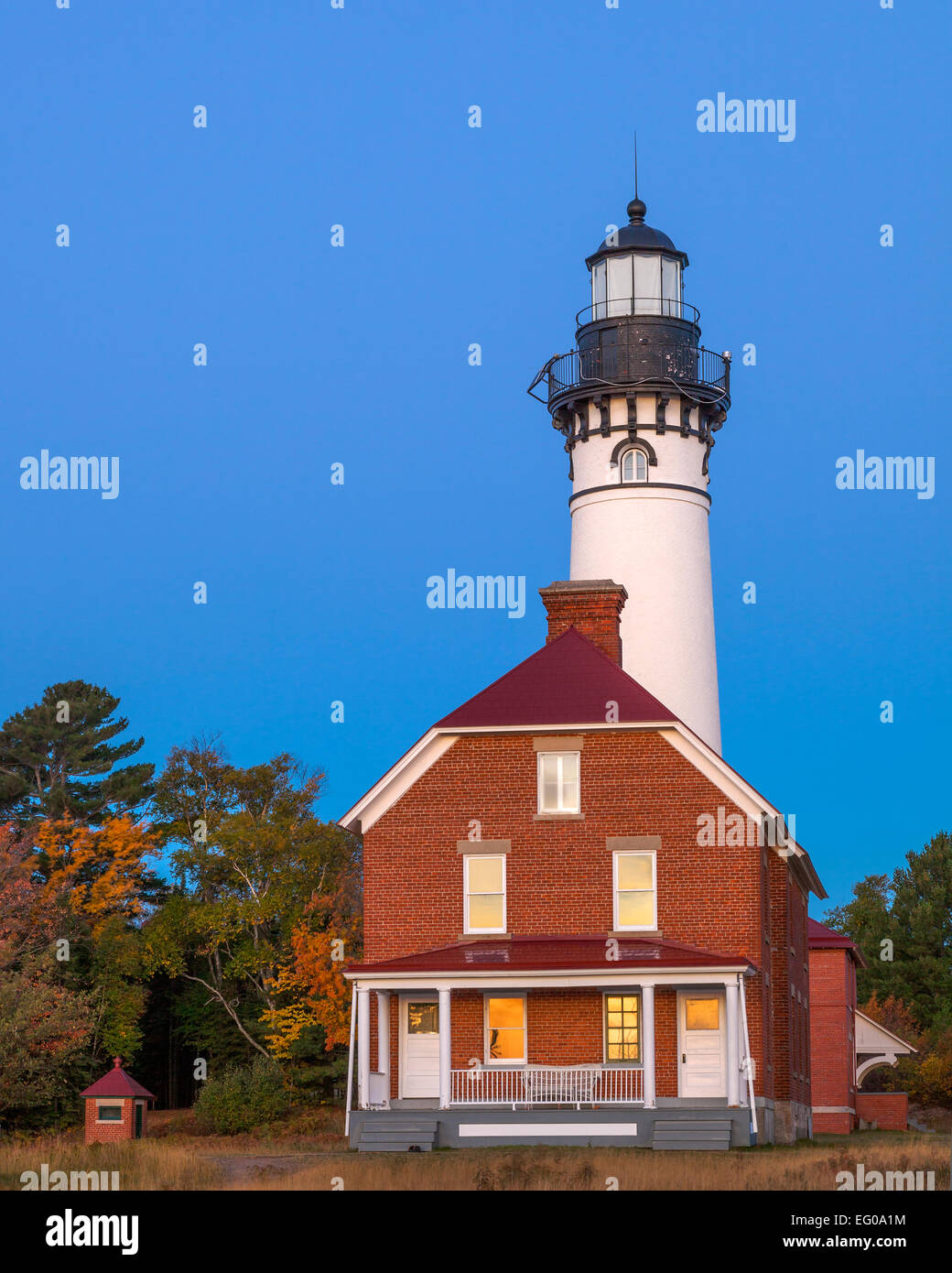 Pictured Rocks National Lakeshore, MI: Au Sable Light Station (1874) on Au Sable Point at dawn - Stock Image