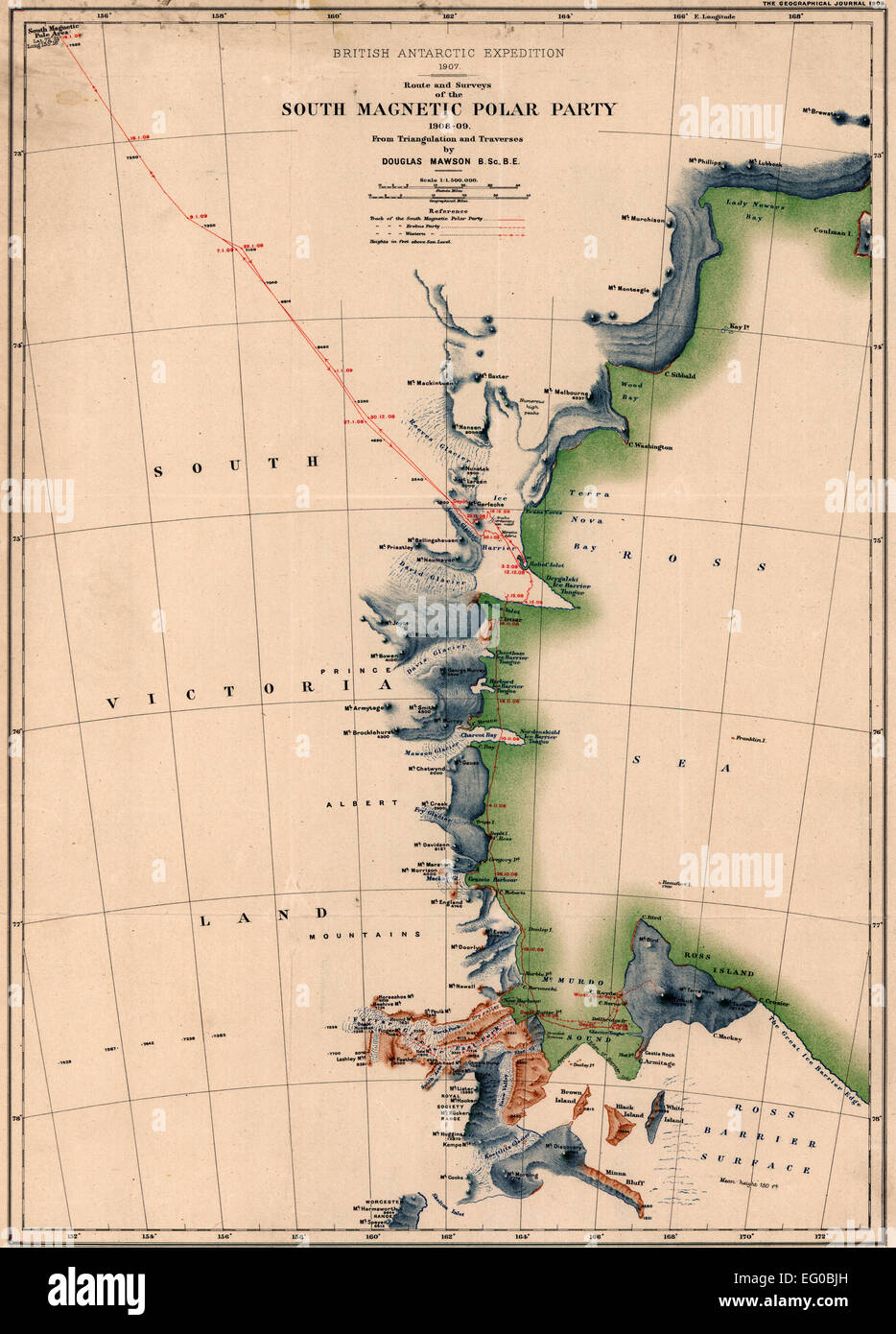 Route and Surveys of the South Magnetic Polar Party, 1908-09.  British Antarctic Expedition--(1907-1909) - Stock Image