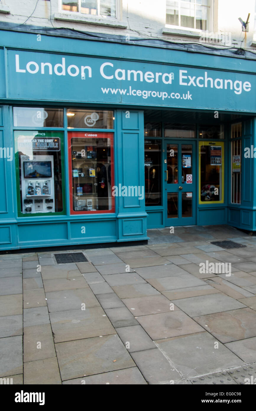 London Camera Exchange shop front  in Salisbury Wiltshire - Stock Image