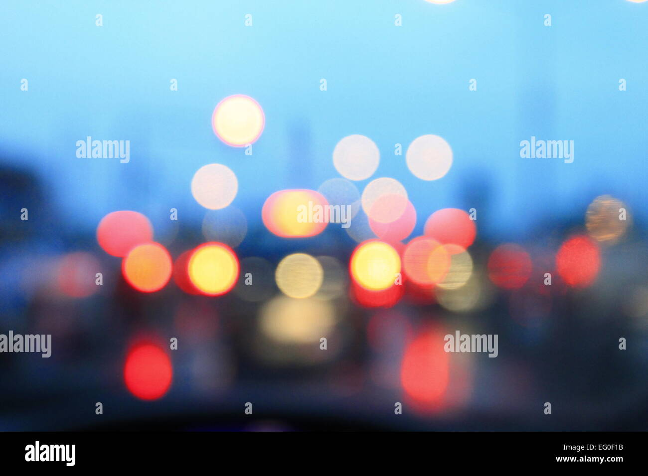 Festive blur background with natural bokeh and bright lights. Stock Photo