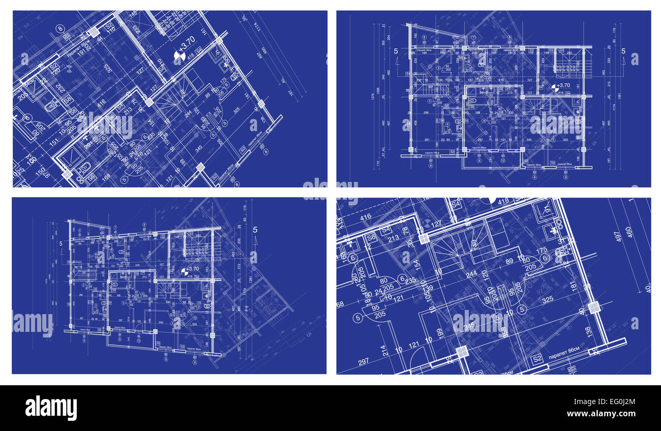 Abstract architecture background four blueprint house plan with abstract architecture background four blueprint house plan with sketch of another blueprint in background malvernweather Images