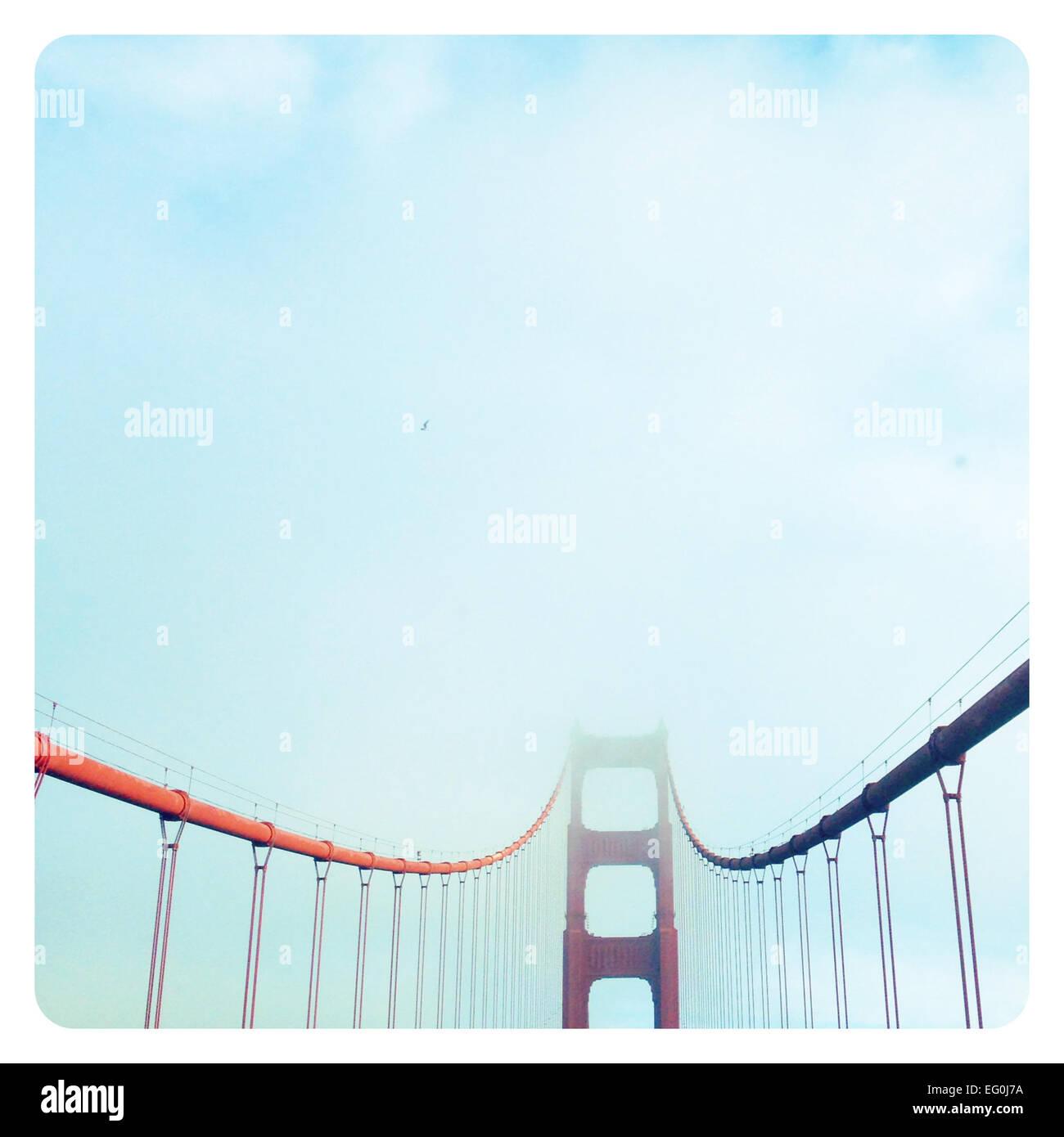 Golden Gate Bridge in fog, San Francisco, California, America, USA - Stock Image