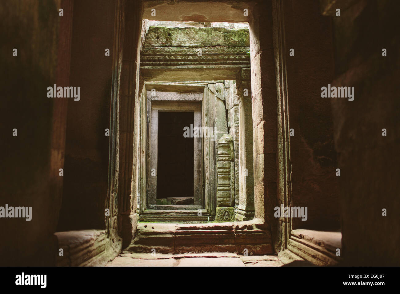 Cambodia, Angkor Thom Temple Passageway Stock Photo