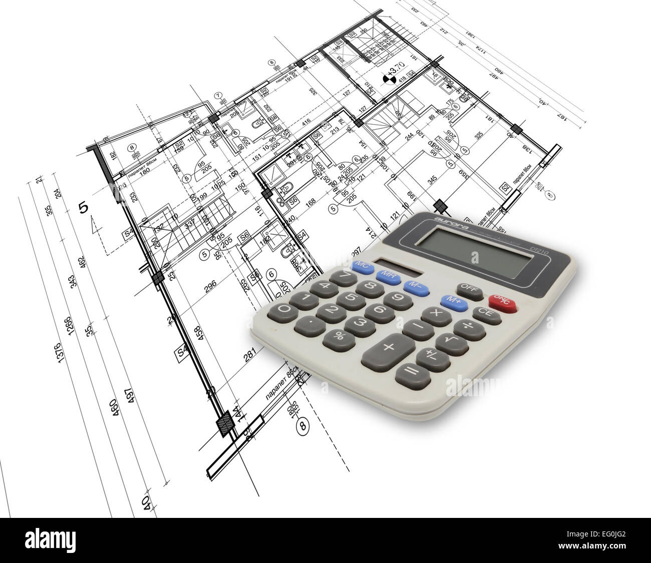 abstract architecture blueprint with calculator made in 2d