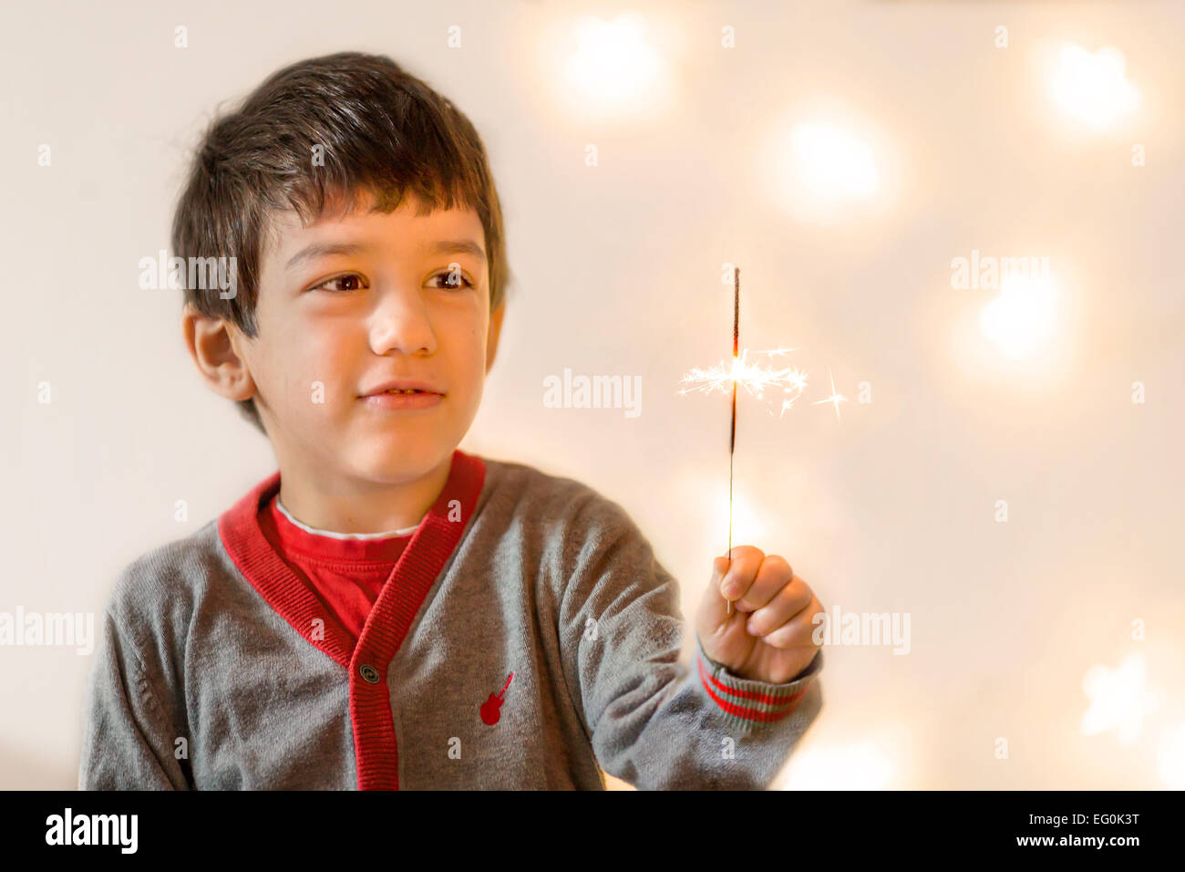 Bulgaria, Sofia, Young boy (4-5) looking at flare Stock Photo