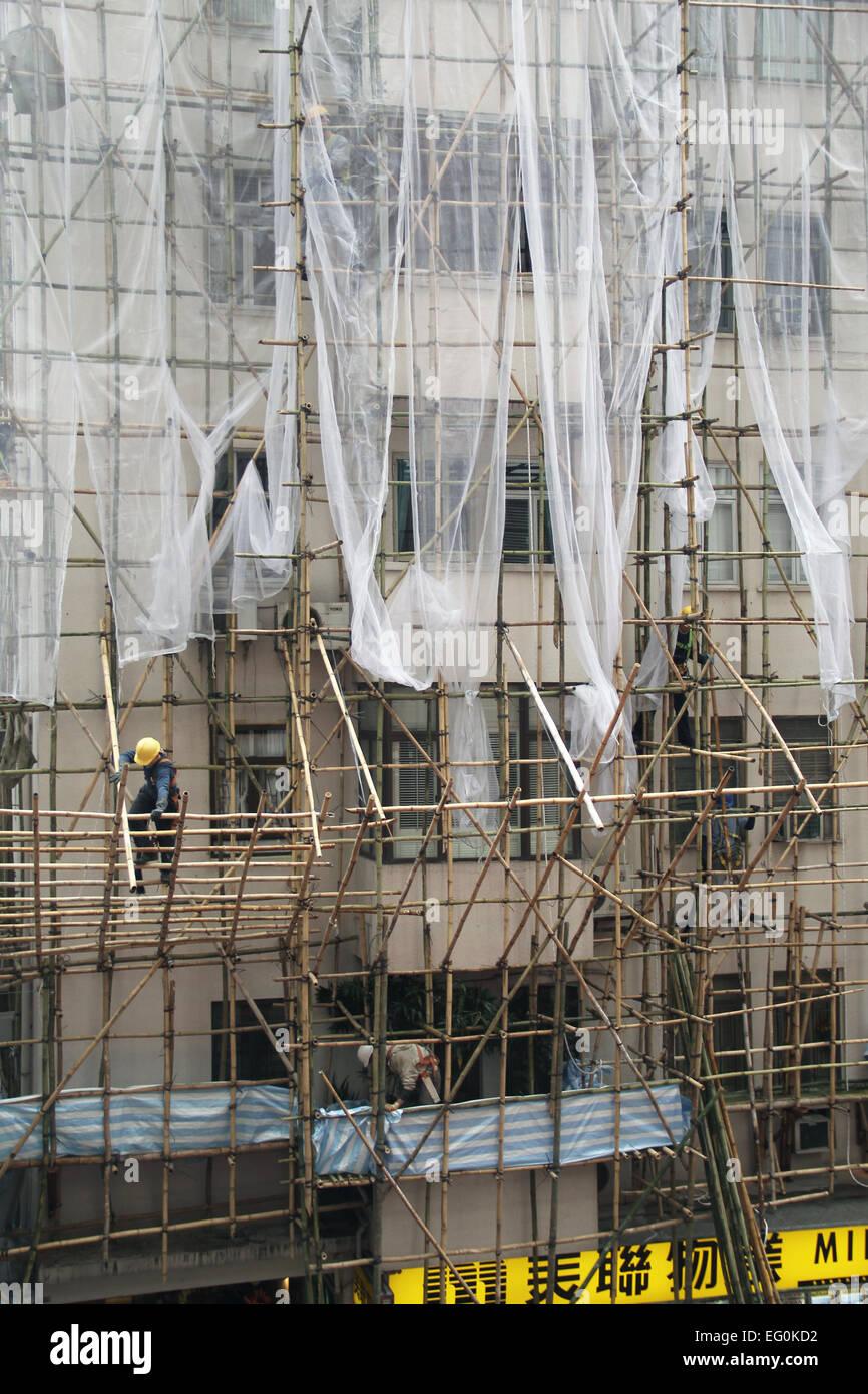 China, Hong Kong, Bamboo Scaffoldings - Stock Image