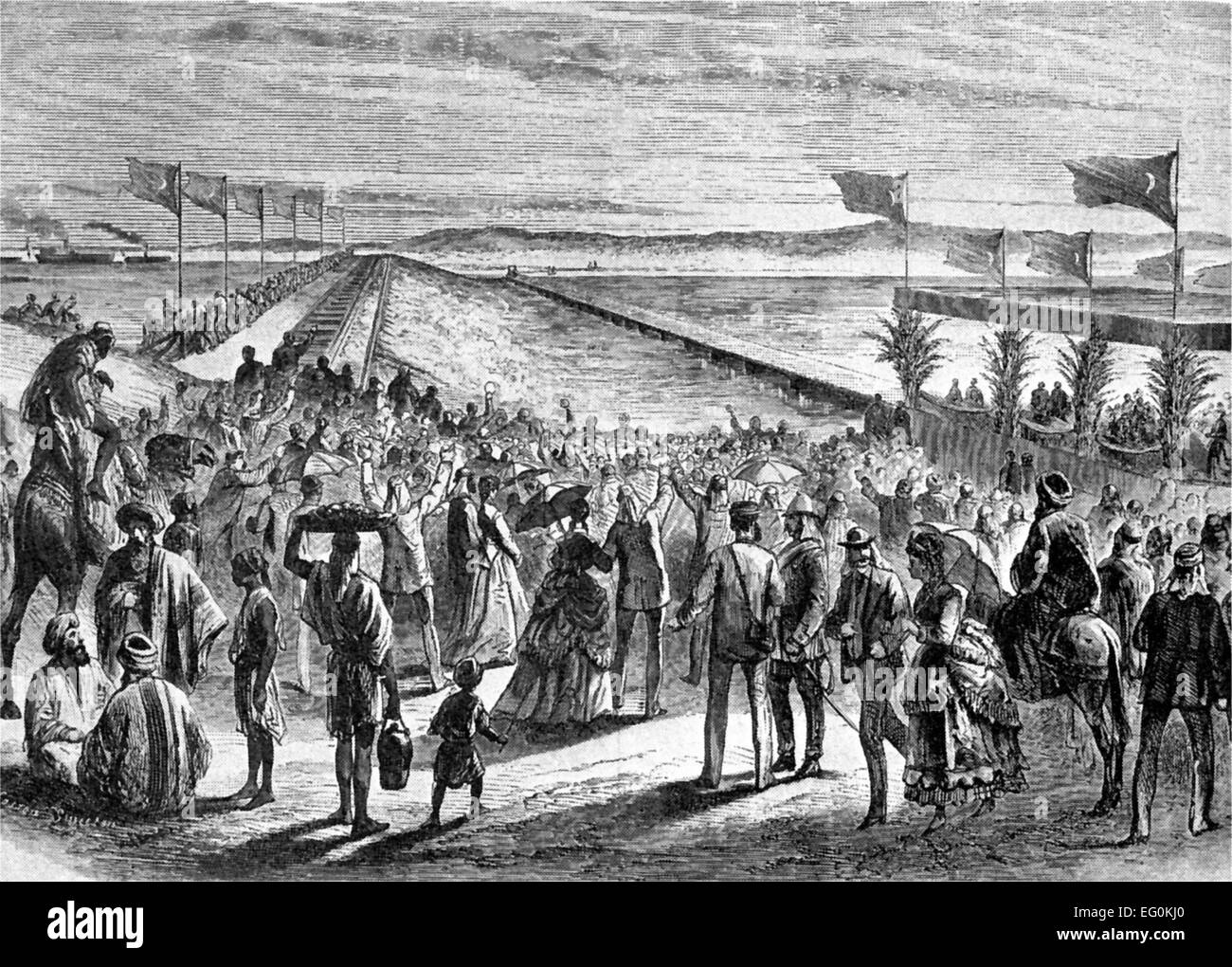 OPENING OIF THE SUEZ CANAL  in November 1869 - Stock Image